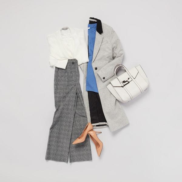 Grey jacket and pants.