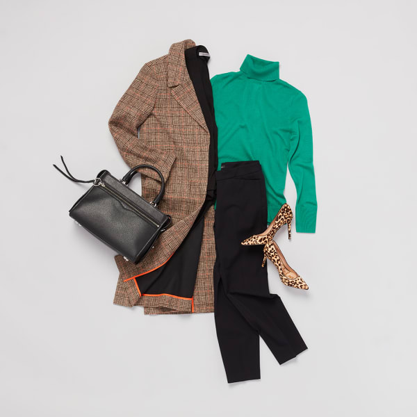Brown jacket and black slacks.