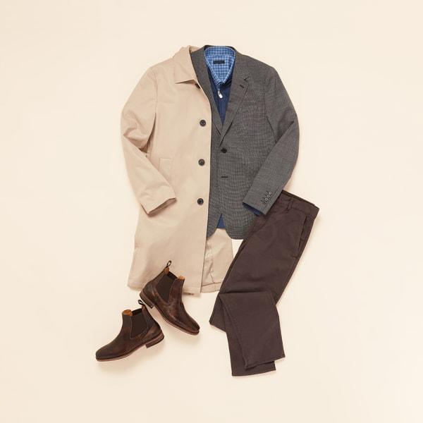 Tan coat with brown pants.