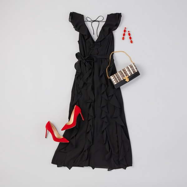 Black maxi dress and red pumps.