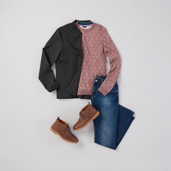 Bomber, sweater, and denim.