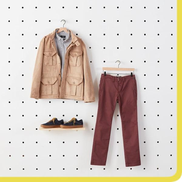 Tan Jacket and burgundy pants