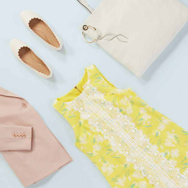 Women's Bright Shift Dress with Pastel Blazer
