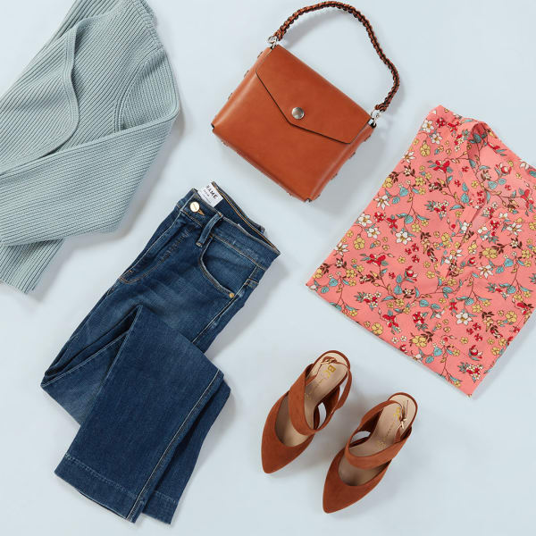 Women's Colorful Blouse and Dark Denim Outfit