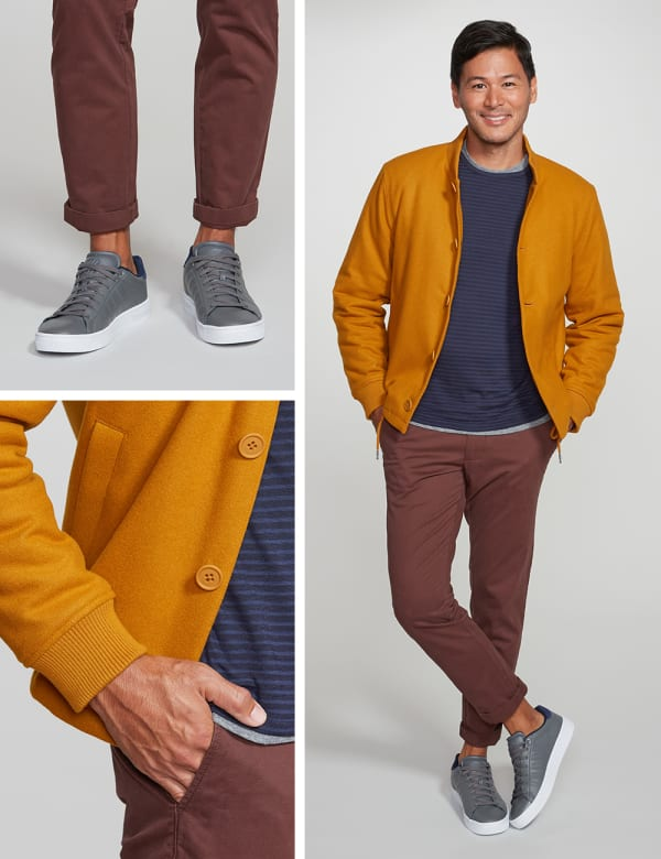 Men's yellow bomber jacket outfit