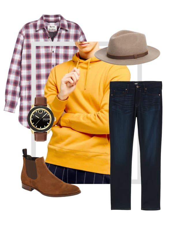 Men's plaid shirt outfit collage