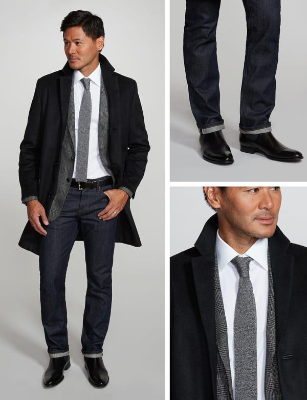 Men's layered workwear look