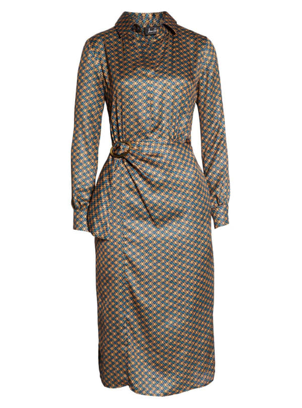 Patterned dress with a belted waist