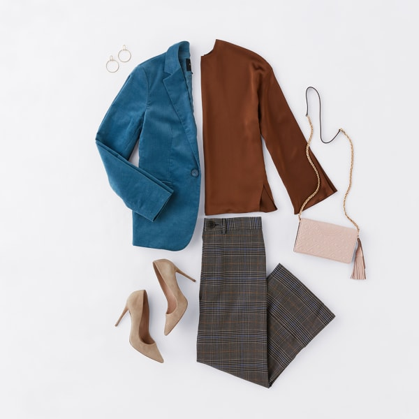 Women's blazer and blouse work outfit