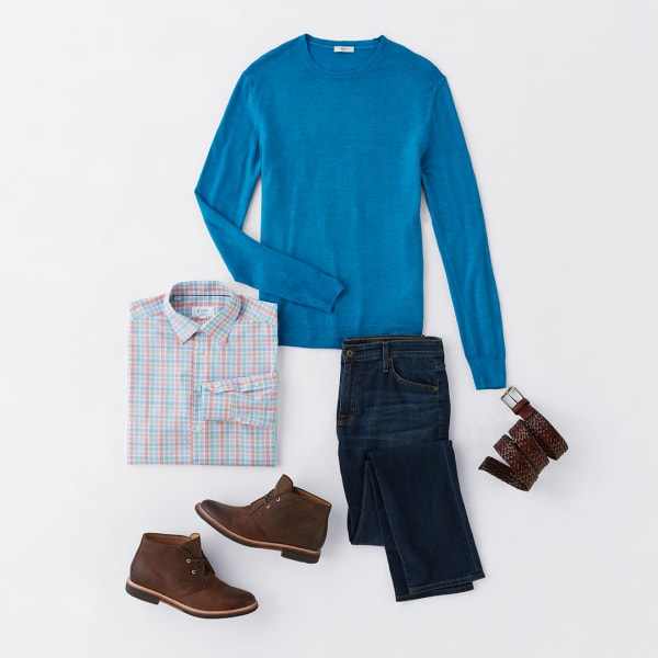 Men's bright sweater and jeans outfit
