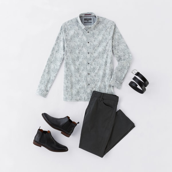 Men's floral shirt and dark pants outfit