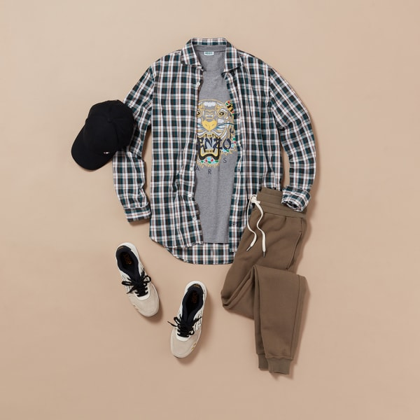 Men's sporty plaid outfit