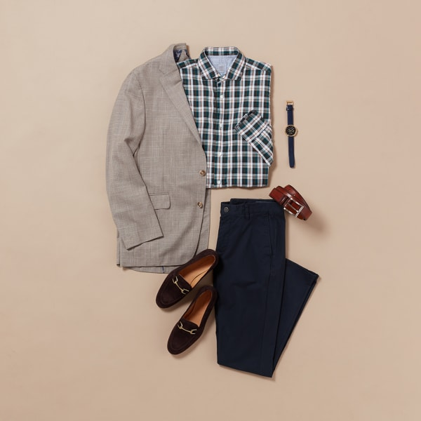 Men's dressed-up plaid outfit