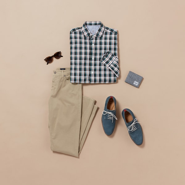 Men's smart casual plaid outfit