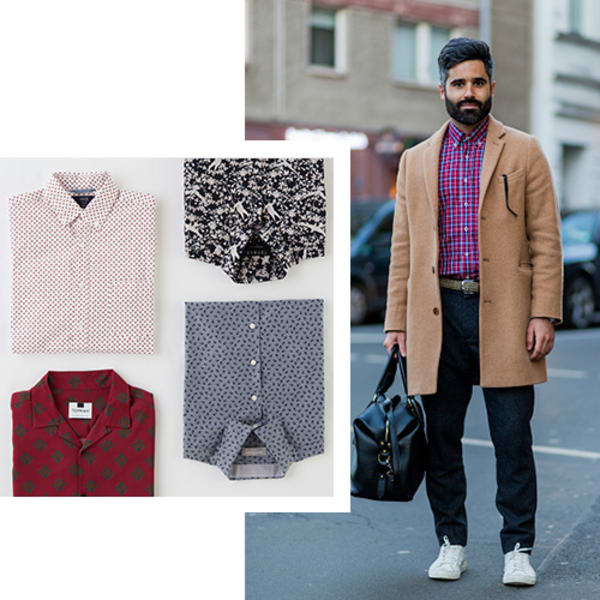 Preppy printed men's collared shirts