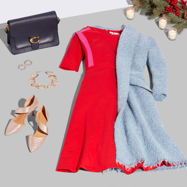 Women's red dress outfit