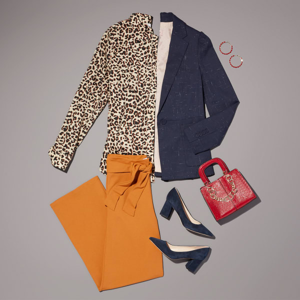 Women's leopard print blouse work outfit