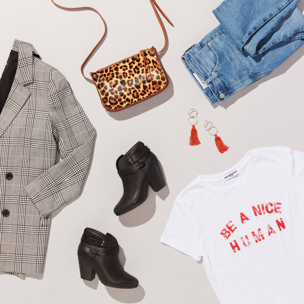 Women's blazer and T-shirt outfit