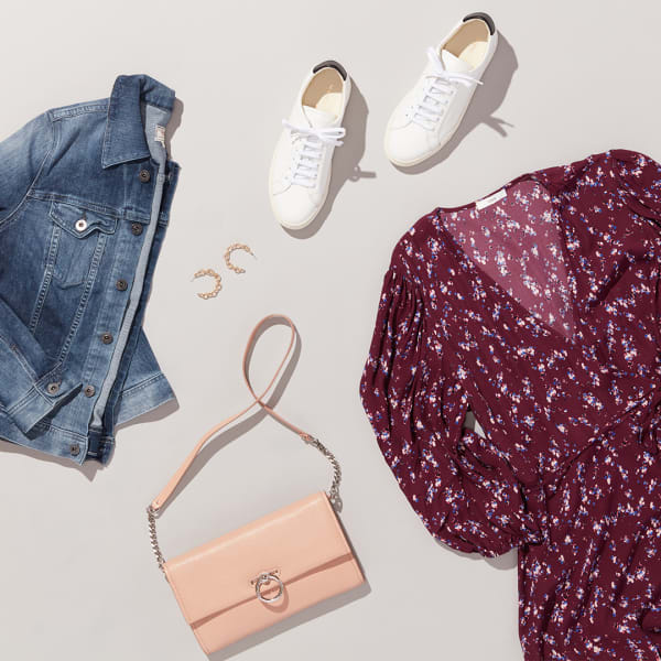 Women's jean jacket and dress outfit