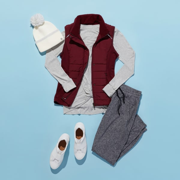 Zella puffy vest with joggers and hat