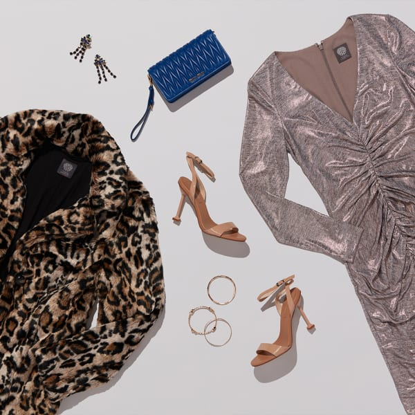 Silver dress with faux-fur coat