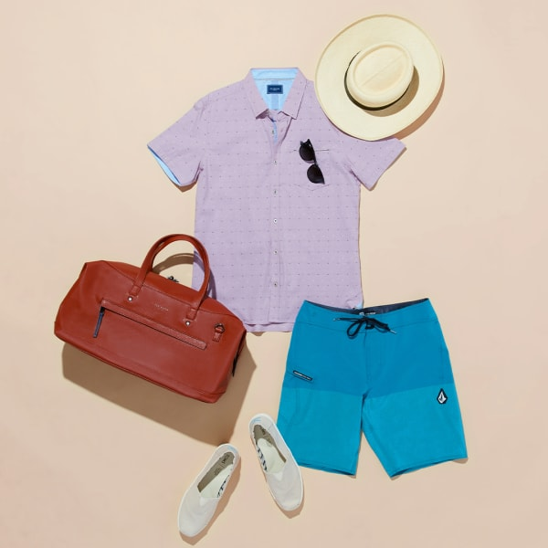 Men's board shorts and canvas sneakers outfit