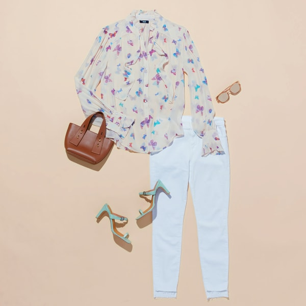 Women's blouse and jeans outfit