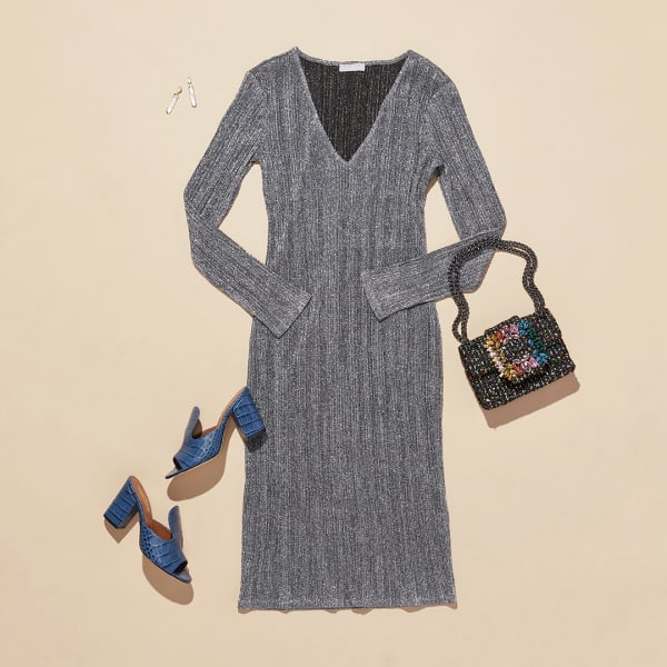 Women's silver dress with mules and crossbody bag