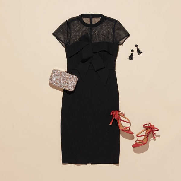 Women's dress with red heels and purse