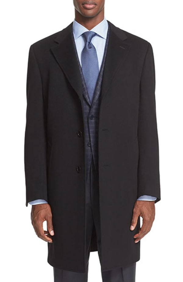 mens topcoat over a sportcoat