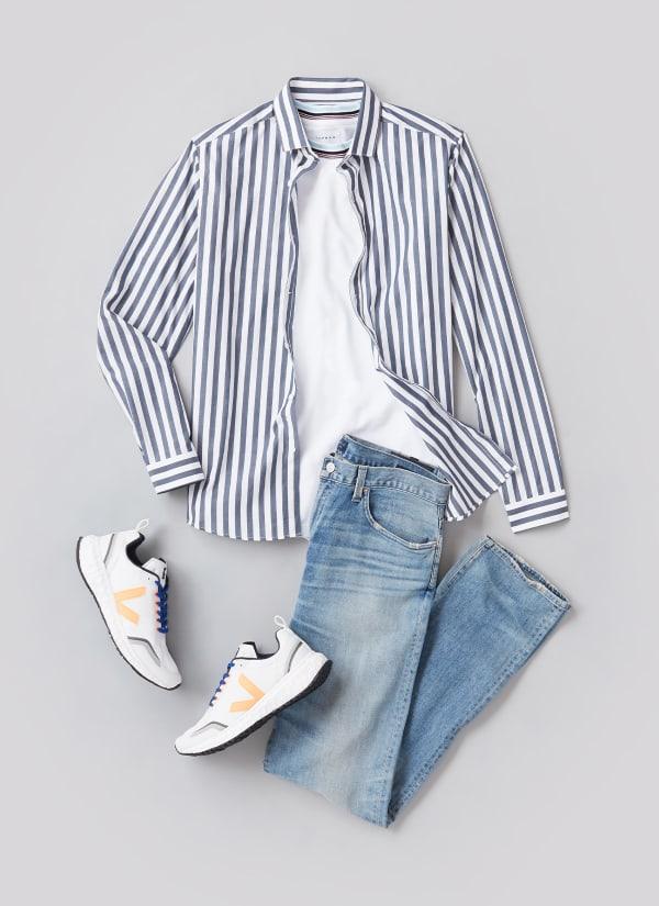 Man wearing blue striped shirt