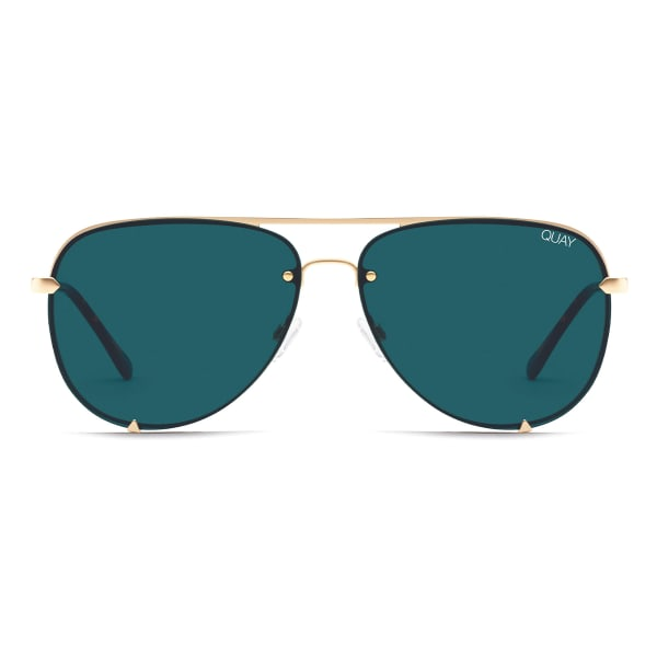 Teal-colored sunglasses