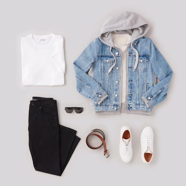 mens black jeans denim jacket outfit
