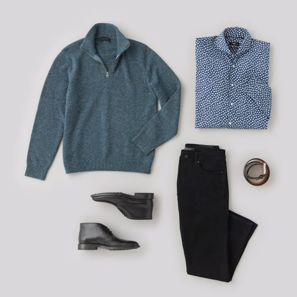 mens black jeans sweater outfit