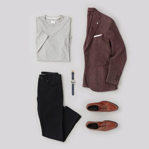mens black jeans sport coat outfit
