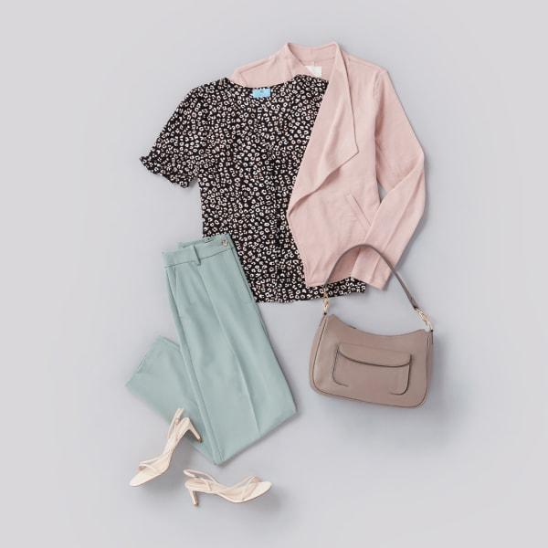 A women's blouse, blazer, trousers, shoulder bag, and sandals.