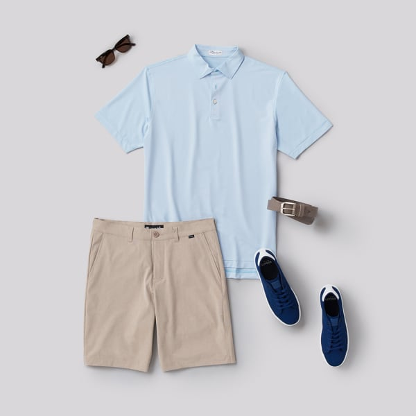 Men's Polo shirt outfit with shorts and a pair of sneakers