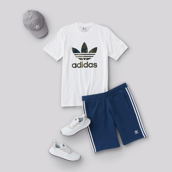 Adidas men's logo shirt and shorts for weight lifting