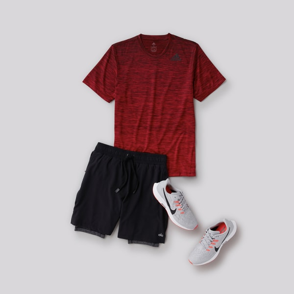 Adidas red shirt and black shorts men's workout outfit for summer