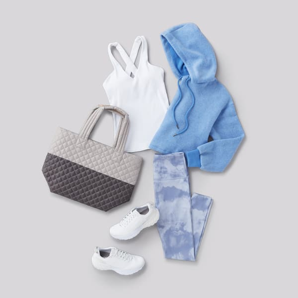 monochromatic blue womens athleisure outfit