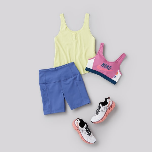 womens short and tank top athleisure outfit