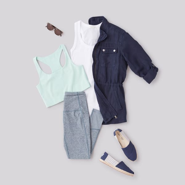 Linen jacket and soft leggings athleisure outfit