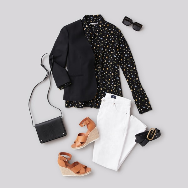 Black blazer and white jeans work outfit