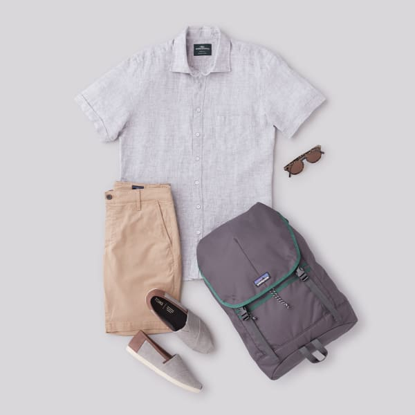 Men's linen shirt and shorts outfit