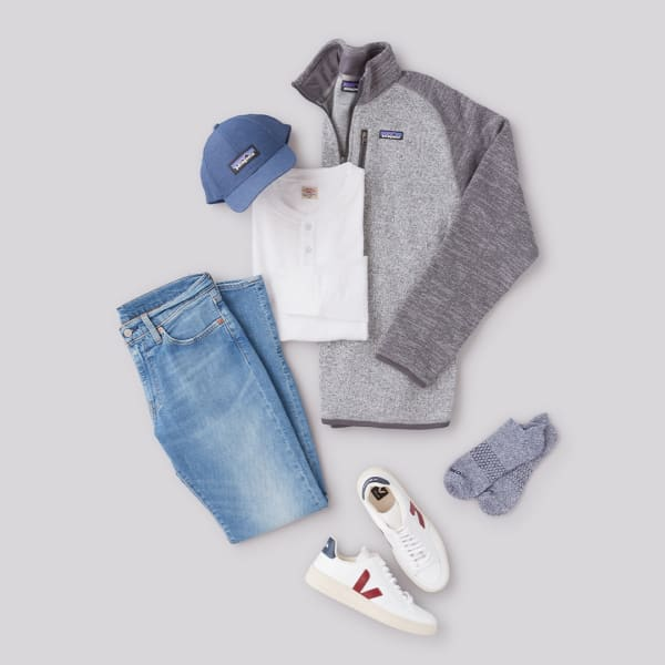 Men's casual jeans and a sweater outfit