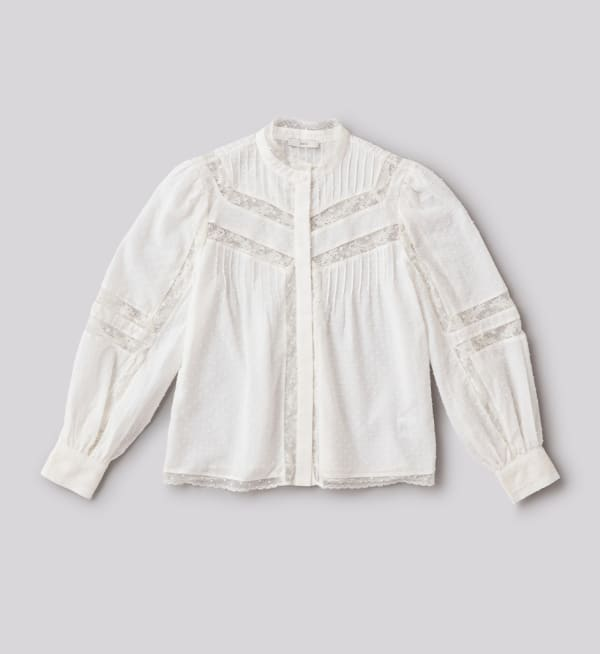 Sustainable-capsule-wardrobe Womens Lace-inset-cotton-shirt