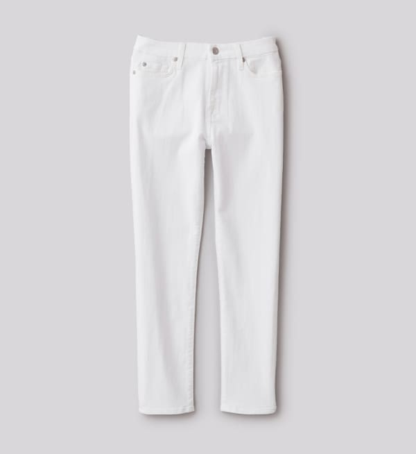 Sustainable-capsule-wardrobe Womens White-crop-skinny-jeans