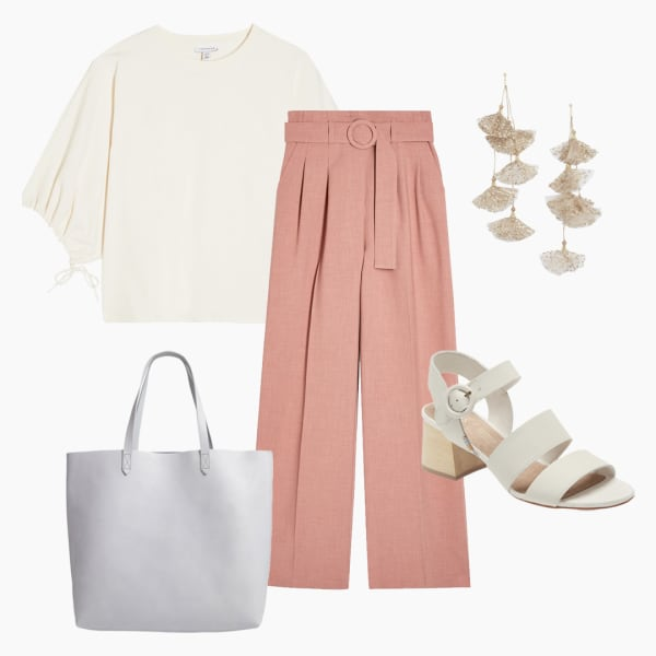 Women's blouse and pink trousers outfit