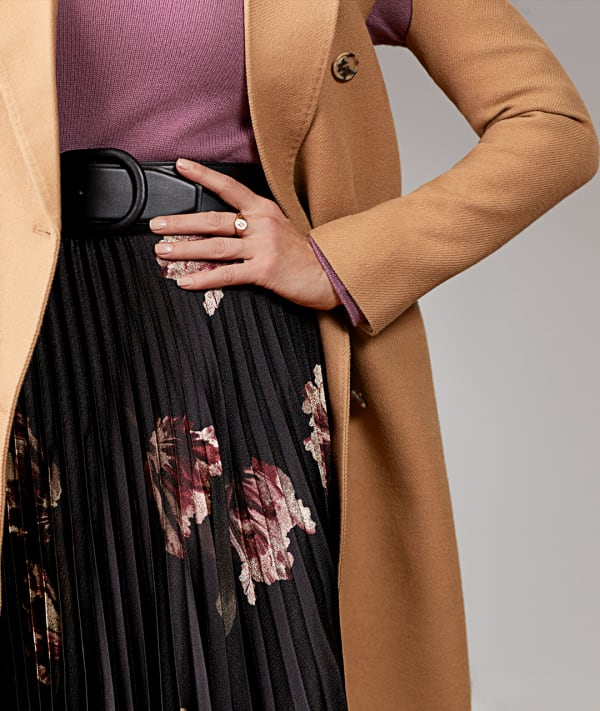 women's brown trench coat with sweater