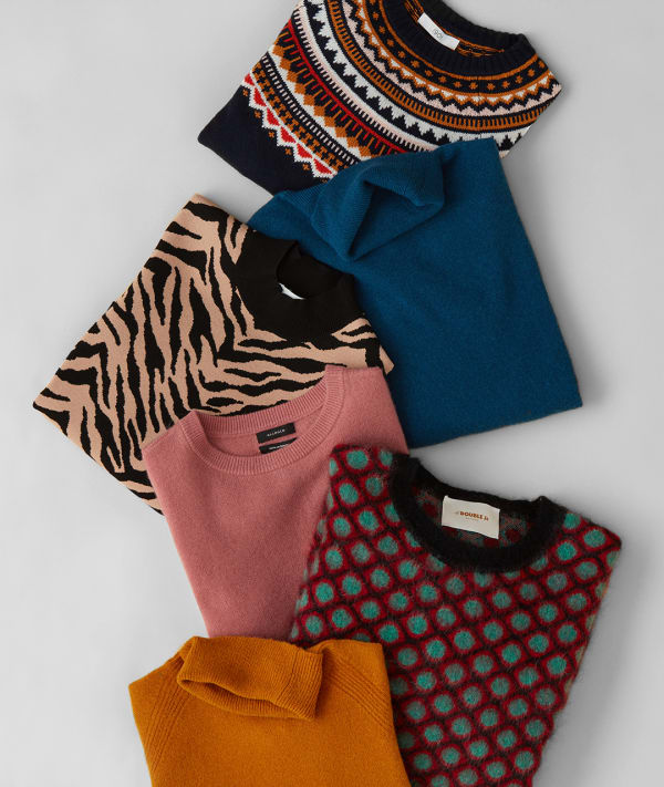 Folded wool sweaters